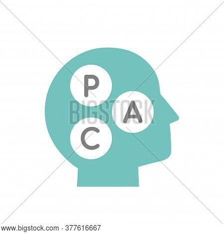 Blue Mans Head With Transactional Analysis Vector Pictogram. Intellect Interface.