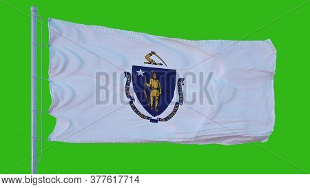 State Flag Of Massachusetts Waving In The Wind Against Green Screen Background. 3d Illustration