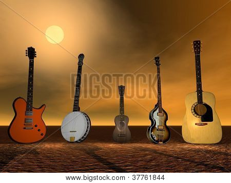 Guitars, Banjo And Ukulele