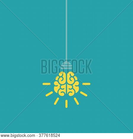 Yellow Bulb With Brain And Rays On Nlue Background. New Idea, Intellect Sign. Smart, Clever, Creativ
