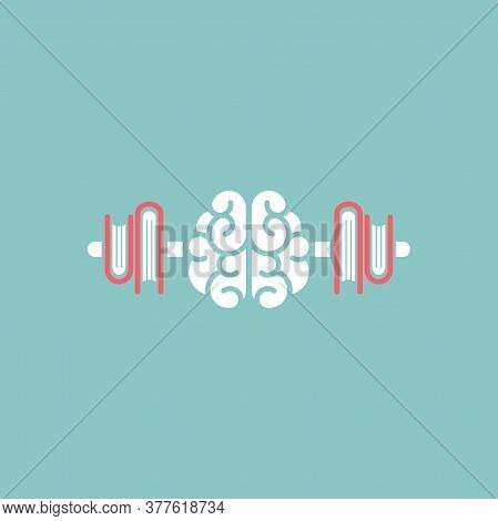 White Brain With Books Stack As Dumbbells Icon. Intellect, Phsychology, Knowledge Simple Pictogram I