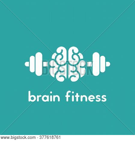 Brain With Dumbbells Icon. Intellect, Phsychology, Knowledge Simple Pictogram Isolated On Blue.