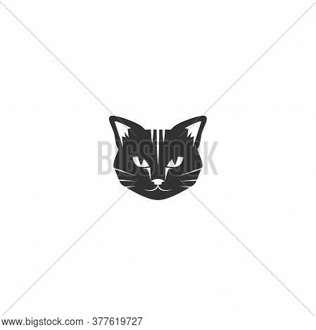 Black Cats Head Icon Isolated On White. Tough, Cool Tom Cat With Severe Look.