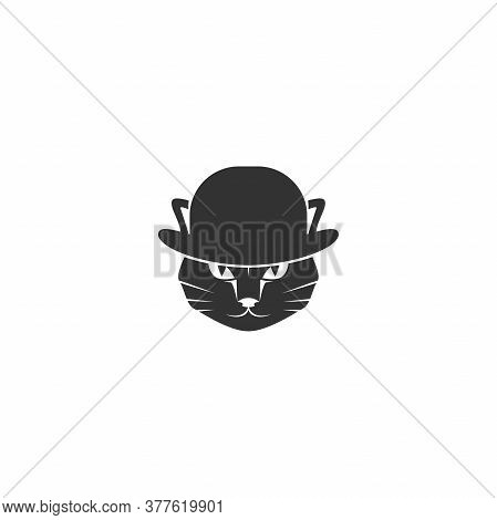 Black Cats Head With Bowler Hat Isolated On White. Tough, Gentleman, Mafia Concept.