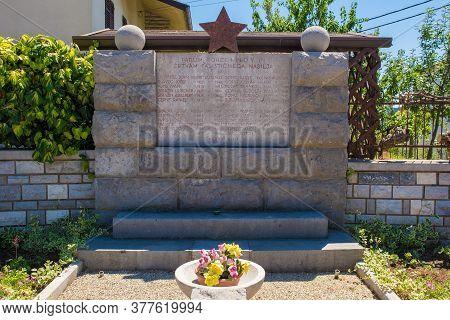 Tomaj, Slovenia - July 9 2020. A Commemorative Memorial Near The Village Of Tomaj In Primorska, West