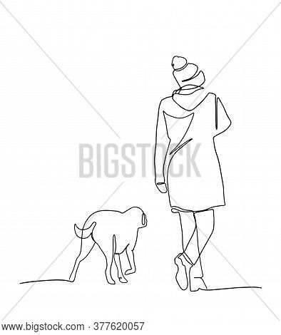 Continuous Line Drawing Of Woman Walking Exercise With Dog. One Continuous Single Drawing Line Art D