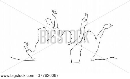 Cheerful Crowd Of People Cheering Applause. Fan Happy People. Party Disco Concert Sport. Silhouette