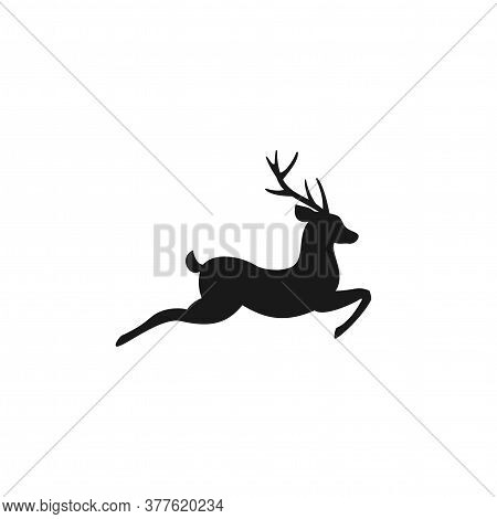Black Silhouette Of Graceful Deer In Jump With Great Antlers. Vector Flat Icon