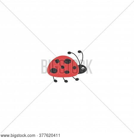 Flying Ladybug Icon Isolated On White. Flat Summer Icon In Black And Red.