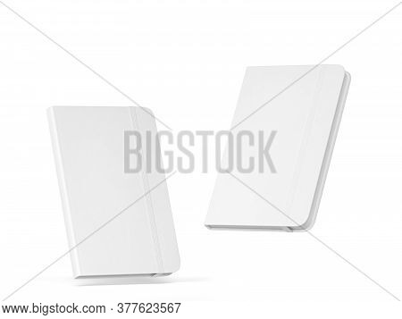 Blank Notebook With Elastic Band Closure Mockup. 3d Illustration Isolated On White Background