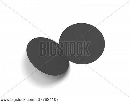 Blank Bi-fold Round Brochure. 3d Illustration Isolated On White Background