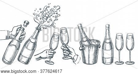 Champagne Vector Hand Drawn Sketch Illustration. Human Hand Holding Explosion Champagne Bottle And D