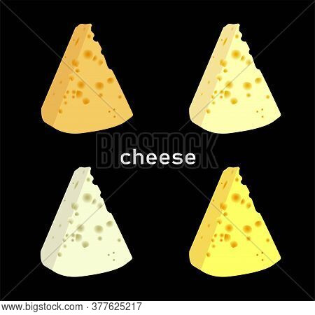 The Best Cheese. Varieties Of Cheese Slices. Stylish Modern Vector Illustration..