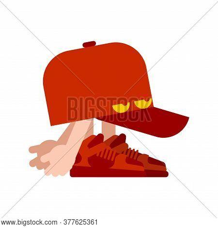 Walking Cap. Hat With Eyes Goes. Walkway