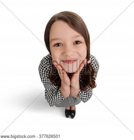 Funny Portrait Of Little Sweetheart Girl On White