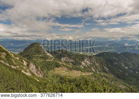 Ferlacher Spitze Hill Under Mittagskogel Hill In Summer Green Day