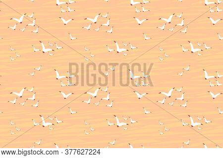 Seagull Flocks In The Sunset Sky. Birds Vector Seamless Pattern. Hand Drawn Illustration For Fabric,