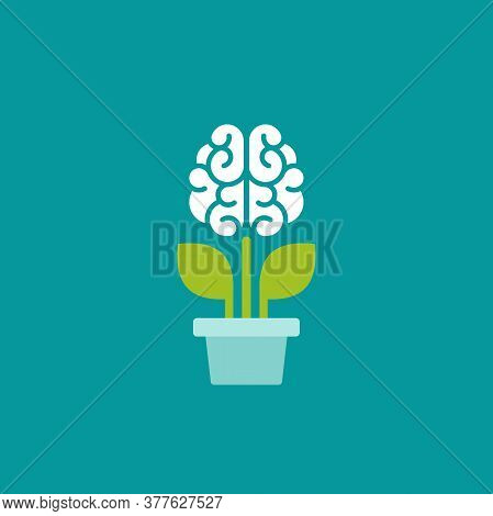 Flower Brain With Green Leaves In Blue Pot. Intellect, Phsychology, Knowledge, Education Concept.