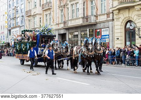 Munich, Germany - September 24, 2018: Participants Of The Annual Bavarian Oktoberfest Beer Festival