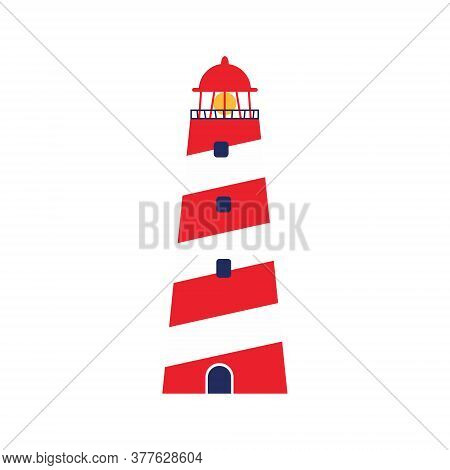 Isolated White And Red Vector Of Lighthouse. Minimalistic Illustration Of The Beacon.