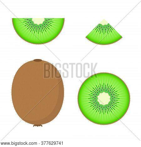 Kiwi Vector Set Half, Slice And Whole Of Fresh Kiwi. Fresh Cartoon Kiwi Isolated On White Background