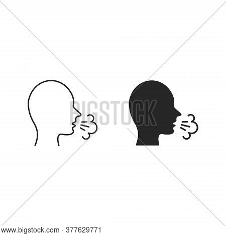 Man Coughs Icon, Coughing Vector Symbol Illustration. Viral Infection, Influenza, Flu, Cold Symptom.