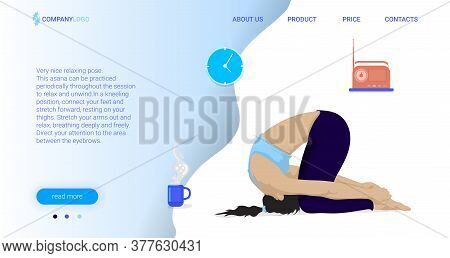 Yoga And Meditation Project Landing Page Vector Template. Sport Exercises. Bodypositive Website Inte