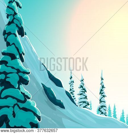 Beautiful Winter Landscape With Spruce. Vector Winter Illustration. Spruce In The Snow, Snowy Mounta