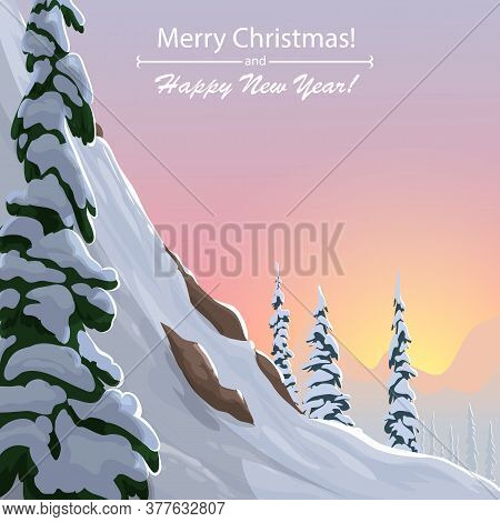 Winter Landscape With Snowy Mountains And Trees. Winter Slope With Christmas Trees. Vector Winter Il