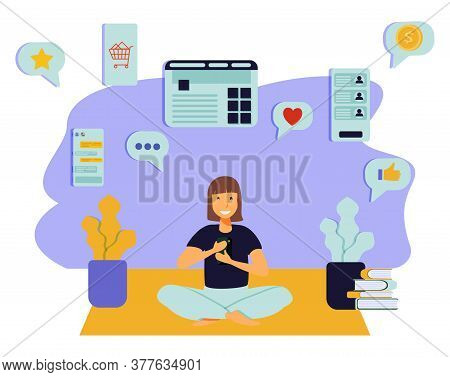 Young Woman Sitting On Floor At Home, Holding Smartphone And Chatting In Messenger Or Social Network