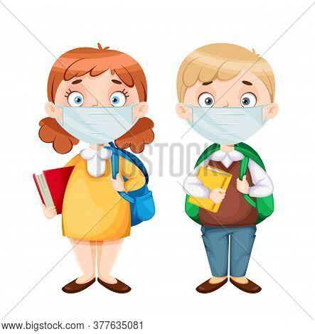 Back To School. Cute Schoolgirl And Schoolboy In Medical Masks. Funny Girl And Boy Cartoon Character
