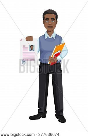 African American Business Man Holding Documents. Cheerful Handsome Businessman Cartoon Character. Ve