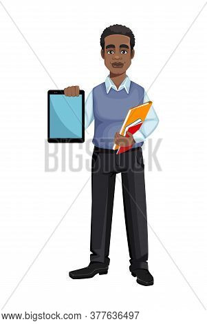 African American Business Man Holding Tablet. Cheerful Handsome Businessman Cartoon Character. Vecto