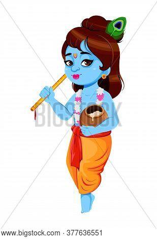 Happy Krishna Janmashtami, Set Of Three Poses. Lord Krishna With Flute And Pot. Happy Janmashtami Fe