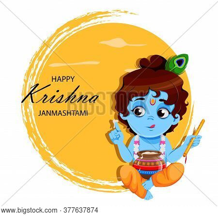 Happy Krishna Janmashtami Sale. Little Lord Krishna With Flute And Pot. Happy Janmashtami Festival O