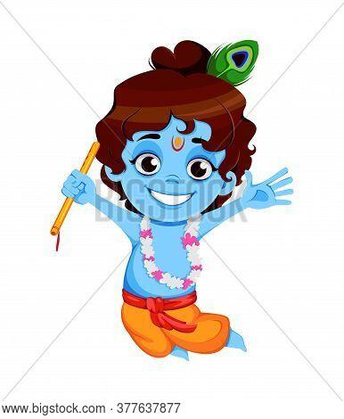 Happy Krishna Janmashtami Sale. Little Lord Krishna Jumping With Flute. Happy Janmashtami Festival O