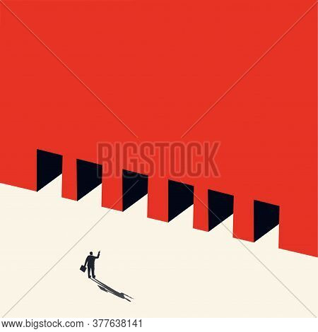Vector Concept Of Business Opportunity, Path Choice Or Obstacle. Ideas For Businessmen. Strategy Of