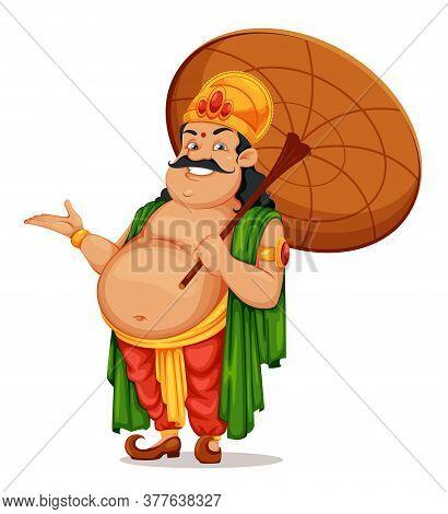 Happy Onam Festival In Kerala. Onam Celebration, Traditional Indian Holiday. King Mahabali With Umbr