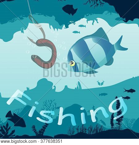 Fishing On The Worm. Underwater World, Lots Of Fish Corals And Reefs.