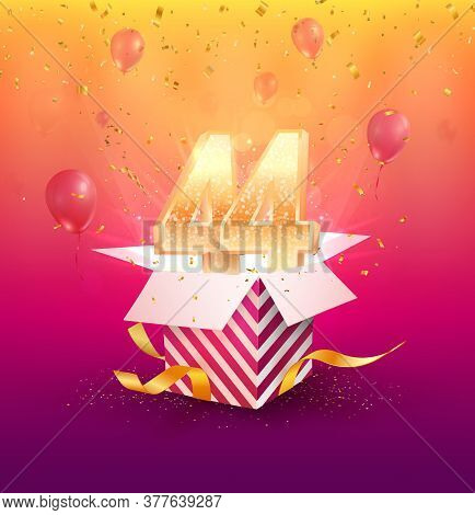 44 Th Years Anniversary Vector Design Element. Isolated Forty Four Years Jubilee With Gift Box, Ball