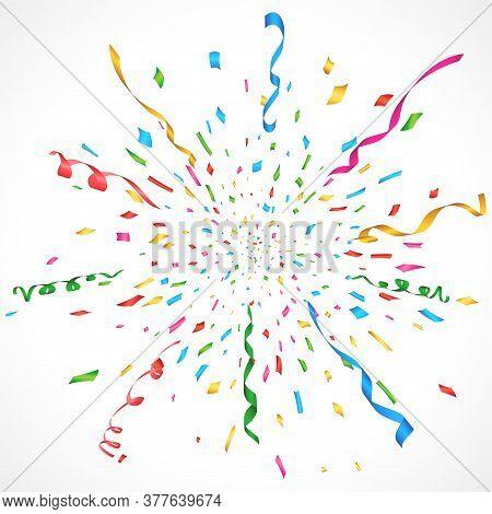 Confetti And Serpentine Explosion Burst Background Vector Design Illustration