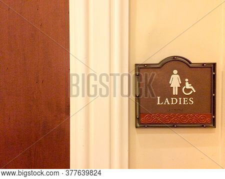 Women Restroom Handicapped Public Bathroom Sign Wheelchair Pictogram Female Figure On Wood