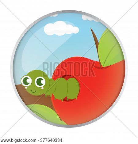 Cute Worm In An Apple Over A Branch - Vector Illustration