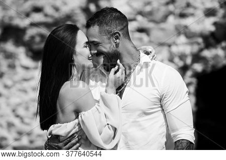 Couple In Love Dating In The City. All Lovers Day. Valentine Couple. Romantic Couple Having Date At