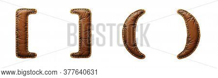 Set of symbols left, right bracket and left, right perentheses made of leather. 3D render font with skin texture isolated on white background. 3d rendering
