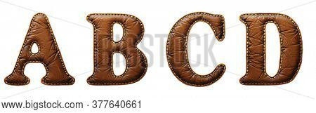 Set of leather letters A, B, C, D uppercase. 3D render font with skin texture isolated on white background. 3d rendering