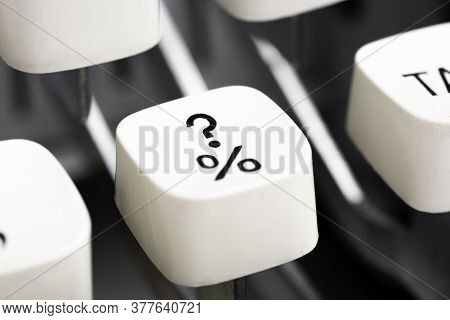 An Extreme Close-up Or Macro Shot Of A White Plastic Keyboard Key Cap From A Manual Typewriter With