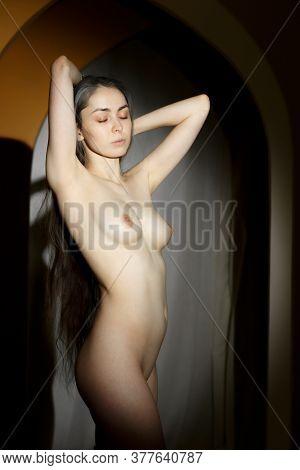Beautiful Nude Naked Girl Posing In The Studio.