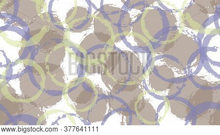 Unique Hand Drawn Circles Geometry Fabric Print. Circular Spot Overlapping Elements Vector Seamless