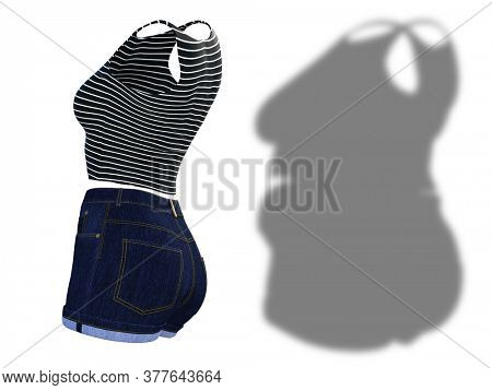 Conceptual fat overweight obese shadow female clothes outfit vs slim fit healthy body after weight loss or diet thin young woman isolated. A fitness, nutrition or obesity health shape 3D illustration